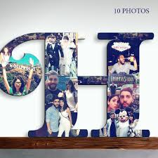 amazon com wooden letter custom photo collage letter photos on