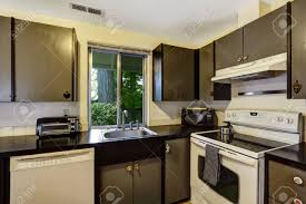 gray kitchen cabinets white appliances kitchen room in contrast white and black colors black cabinets
