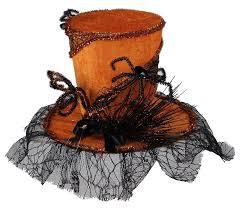 top hat velvet web top hat black orange hat