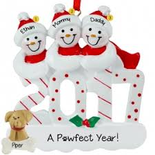 family of 3 with ornaments gifts personalized