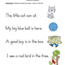 easy reading worksheets for kindergarten read and draw the