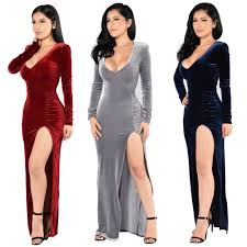 christmas cocktail party dress winter christmas dress women long sleeve red velvet slit evening
