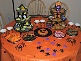 halloween buffet table decor carved pumpkin jack o lantern spider