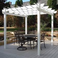 White Vinyl Pergola by Garden Vinyl Pergola Large 9x9 Outdoor White Vineyard Arbor Patio