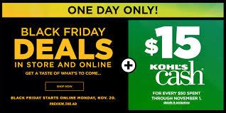kohl s black friday deals live 20 and 15 kohl s