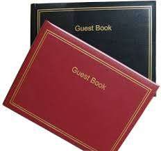 Leather Guest Book Guest Book Leather Double Gold Border Refillable With Pages