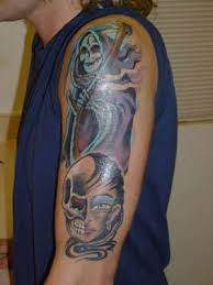 grim reaper skull design on sleeve tattooshunter com