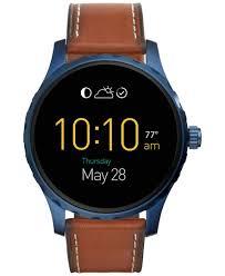 fossil steel leather bracelet images Fossil men 39 s digital q marshal saddle leather strap smart watch jpg