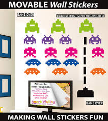 space invaders retro wall stickers totally movable space invaders retro movable wall stickers