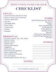 wedding registration list domesticability what s in a name name change checklist wedding