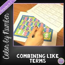 combining like terms color by number by middle math moments