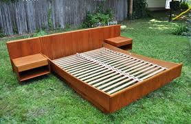 Bed With Attached Nightstands Articles With Diy Platform Bed Floating Nightstands Tag Floating