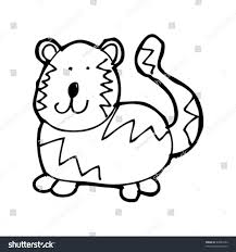 childs drawing tiger stock vector 49984354 shutterstock