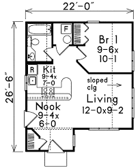 Floor Plan Cottage by Cottage Style House Plan 1 Beds 1 00 Baths 527 Sq Ft Plan 57 495