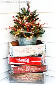 a farmhouse christmas vintage decor crates and buckets