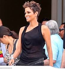 back view of halle berry hair halle berry displays her blossoming figure in a sheer top as she