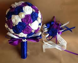 wedding flowers ni royal blue white and purple silk flower bridal bouquet with