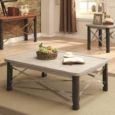 coaster 700490 rustic coffee table with white top value city