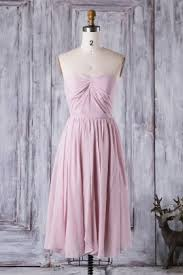 Light Pink Short Bridesmaid Dresses Tea Length Strapless Sweetheart Pleated Light Pink A Line