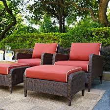 Crosley Palm Harbor Patio Furniture Kiawah 4 Piece Outdoor Wicker Seating Set With Sangria Cushions