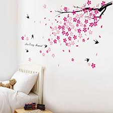sticker mural chambre walplus stickers muraux fleurs roses hirondelles décor pour chambre