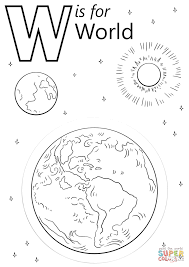letter w is for world coloring page free printable coloring pages