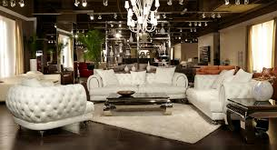 Michael Amini Fireplace Aico Mia Bella Ellia Cream Tufted Leather Mansion Living Set Usa