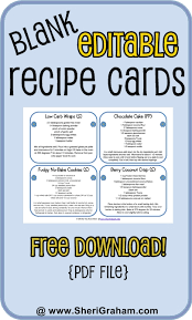 blank editable recipe cards 1 2 u0026 4 card versions free