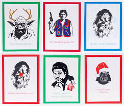 wars christmas card set of 6 illustrated wars christmas cards