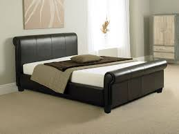 tuscany 4ft6 double bed or king size leather sleigh bed memory