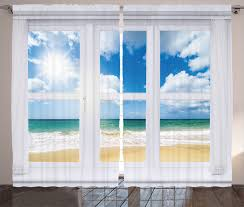 view of the beach surf sand and waves sea home decor image curtain