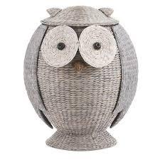 boho owl wicker laundry basket nursery toys home storage u2013 gogetglam