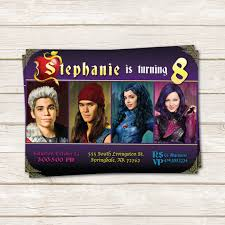disney descendants birthday party invitations and printables omg