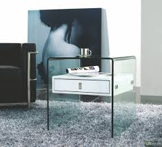 White Bedroom Night Tables Transparent Glass Bedside Table With White Wooden Drawer On Grey