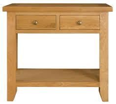 buy michigan oak console table 2 drawers online cfs uk
