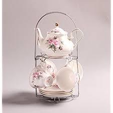 shabby chic tea set floral pink blue set 6 cups gift set retro