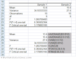 excel add ins f test two sample