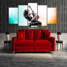 online get cheap playing guitar pictures aliexpress com alibaba 5 panels fashion music playing guitar oil painting hd print pictures on canvas for home or living room decoration print poster