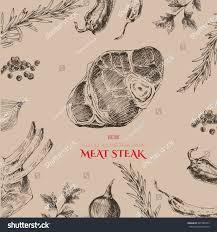 vector hand drawn meat restaurant menu stock vector 391380472