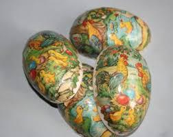 antique easter decorations paper mache eggs etsy
