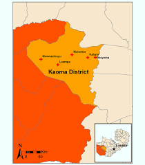 Map Of Zambia Map Of Study Clinics In Kaoma District Western Provence Zambia