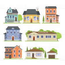 Flat Home Design by Cute Colorful Flat Style House Village Symbol Real Estate Cottage