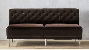 savile cocoa brown velvet tufted armless sofa cb2