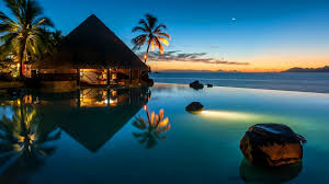 clouds waves season reflection water vacation stars palms evening