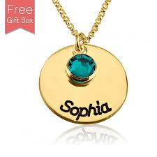 necklace birthstones personalized disc necklace with name custom birthstones
