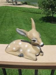 vintage cement deer sweet fawn cement concrete lawn ornament
