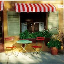 Red And White Striped Awning Bistro Mediterranean Porch San Francisco By Suzanne