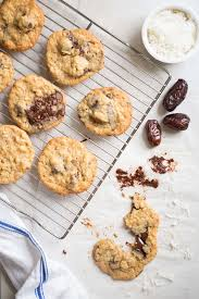 chewy chocolate chip cookies with coconut and medjool dates
