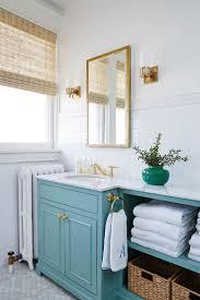 Turquoise Bathroom Vanity Teal Bathroom Open Storage Baskets Painted Vanity Subway Tile