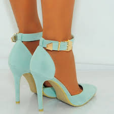 ladies mint green faux suede pointed ankle strap stiletto high heels
